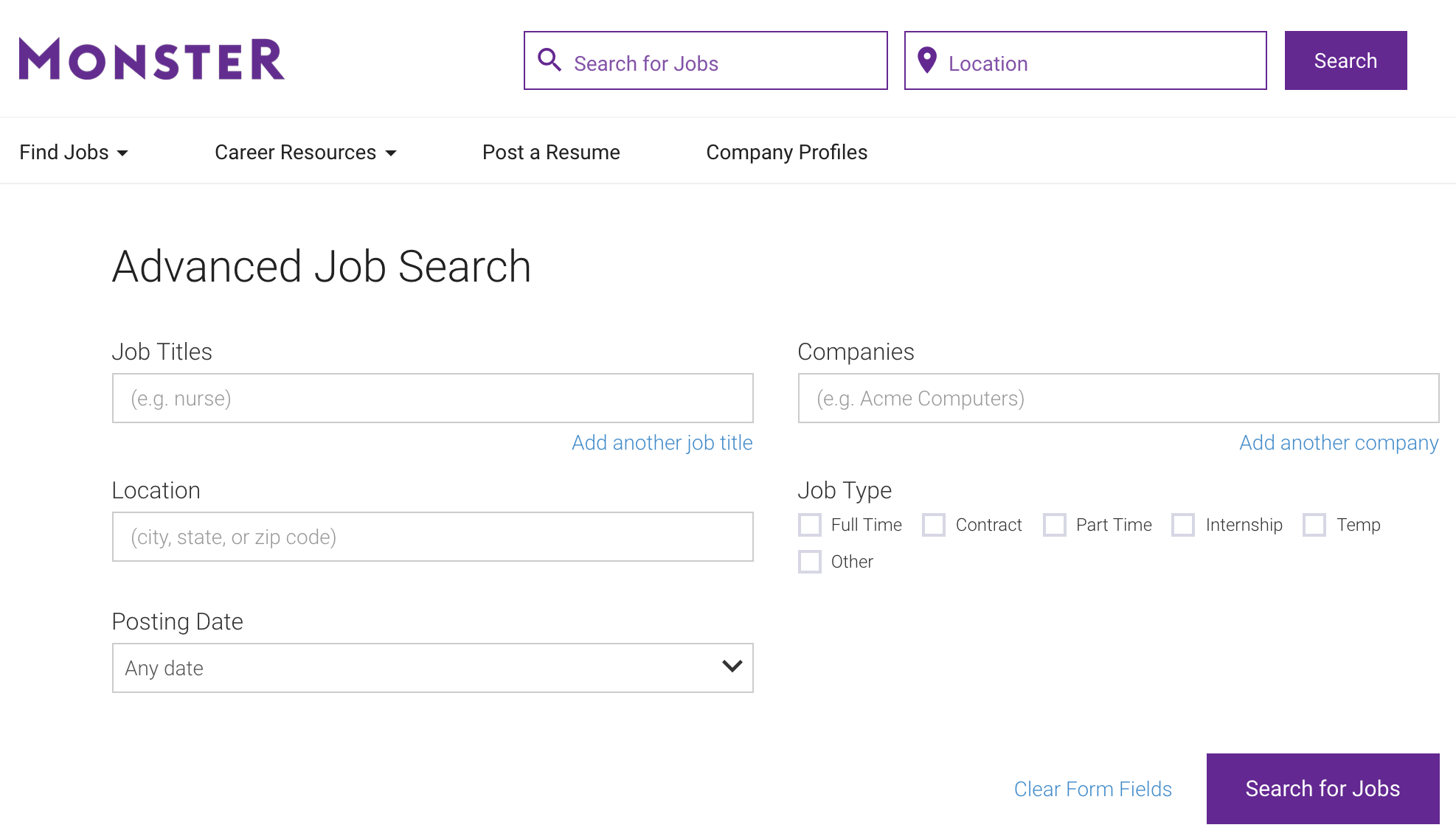 Filling out a form filtering search results parsehub for Monster advanced search