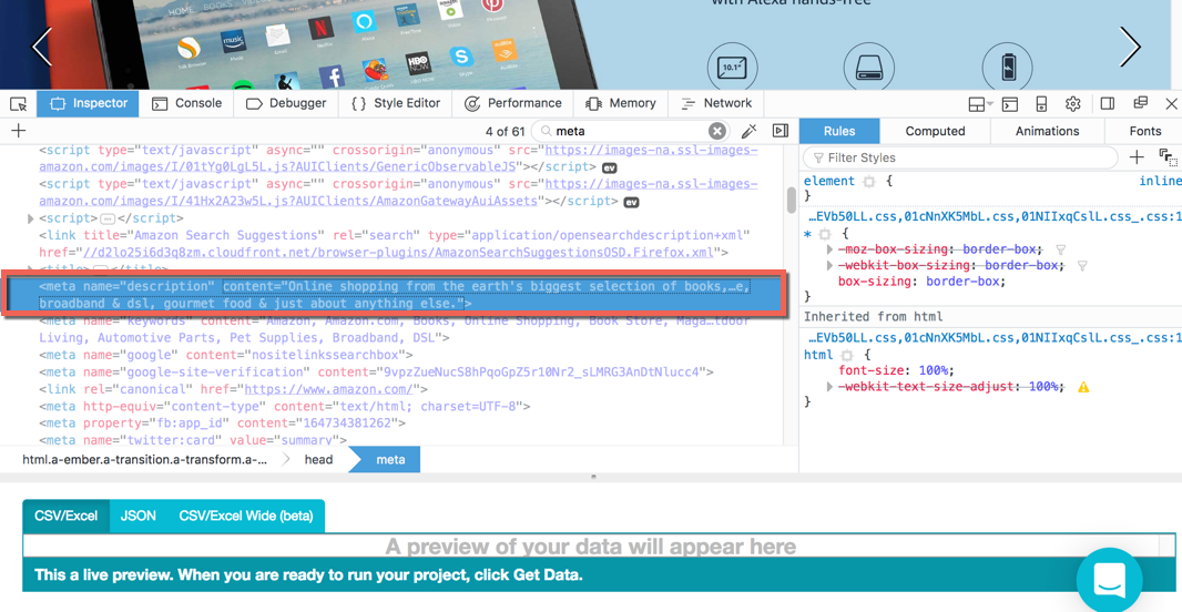 Extracting meta data from webpages – ParseHub Help Center