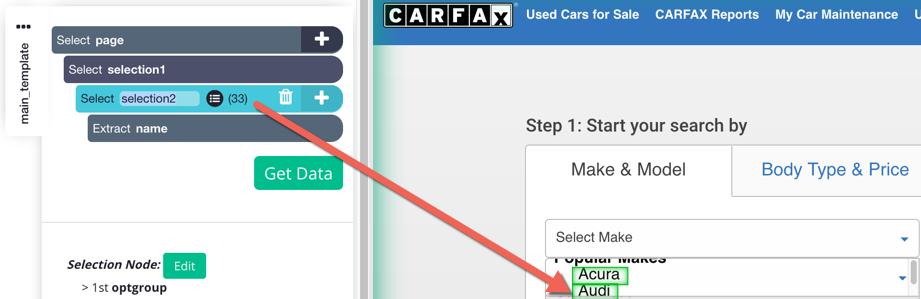 Clicking through options in dropdown menus – ParseHub Help Center